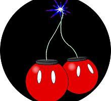 Cherry Bob Omb sticker on black by Yoshimiah