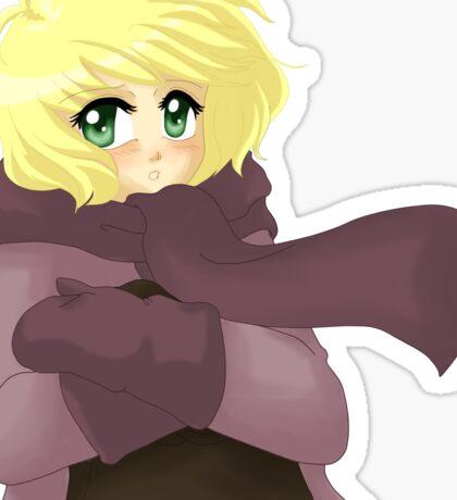 Windy anime girl Sticker