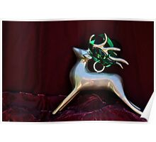 Christmas:  Silver Reindeer Floating on a Deep Red Tree Skirt Poster