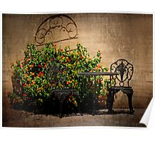 Table and Chairs in Black With Flowers Poster