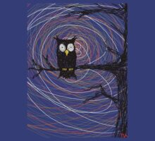 Daymare - Spooky creepy Halloween owl on branch spiral art tia knight  by Tia Knight