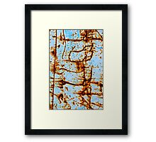 Rust Scratched Metal in Blue Framed Print