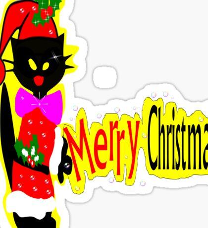 Merry Christmas black cat vector art Sticker