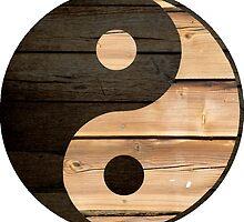 Wood Yin Yang Symbol by SpikeysStudio