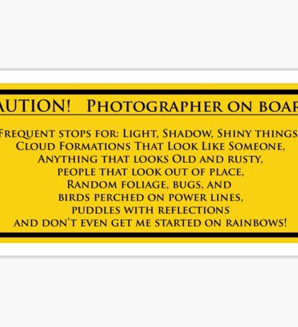 Photographer On Board Sticker
