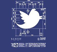 Twitter T Shirt, Bird Logo Dimensions Unisex T-Shirt