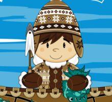 Cute Little Inuit Fisherman in Kayak Sticker