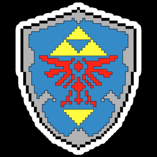 8-Bit Hylian Shield Sticker by WUVWA