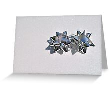 Christmas:  Silver Stars on a Bed of Sparkly Snow Greeting Card