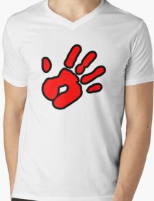 Hand Print (red) Mens V-Neck T-Shirt