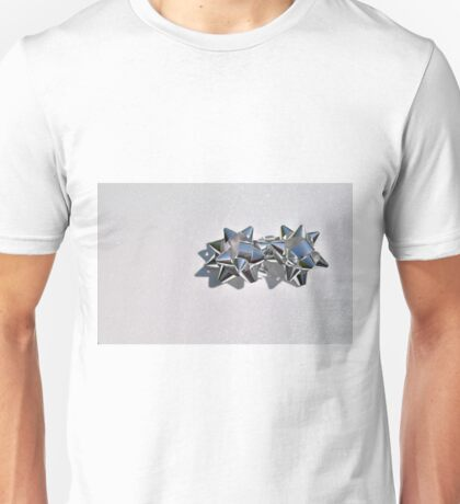 Christmas:  Silver Stars on a Bed of Sparkly Snow Unisex T-Shirt