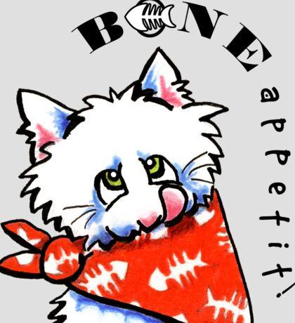 """Cat """"Bone Appetit!"""" Gourmet Pet Foods Envelope Stickers {Platinum} Sticker"""