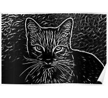 Black and White Fractalius Cat  Poster