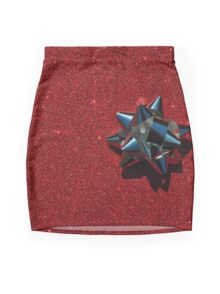Christmas:  Silver Star on Millions of Red Sparkles Mini Skirt