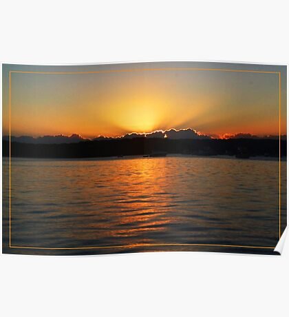 Sun setting at Moreton Bay Poster