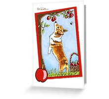 Corgi under the Apple Tree Saying Hello Cards Greeting Card
