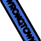 Wrongtown Capsule - Black Text Blue Back by houseAU
