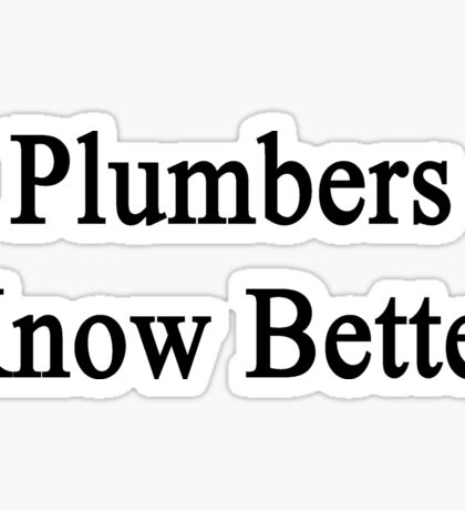 Plumbers Know Better Sticker