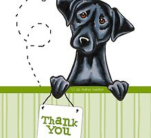 Black Lab Happy Bee Thank You Cards by offleashart
