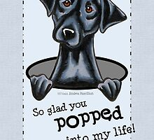 Black Lab Popping In Friend Appreciation Card by offleashart