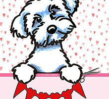 Maltese Valentines Day Paper Hearts Card by offleashart
