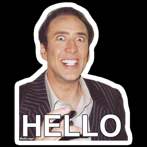 Nicolas Cage - HELLO Sticker by James Frewin