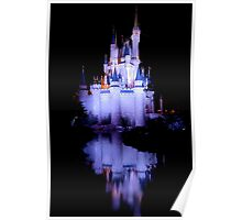 Cinderella's Castle - Blue w/reflection Poster