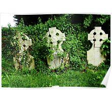 Three headstones in a forgotten corner Poster