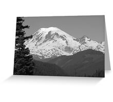 Remarkably Free - Majestic Mount Rainier in Black and White Greeting Card