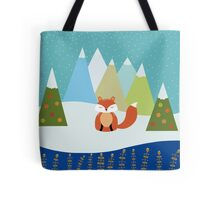 Fox Illustration - Christmas Tree Tote Bag