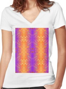 Abstract Pattern 2 -  Purple & Orange Women's Fitted V-Neck T-Shirt