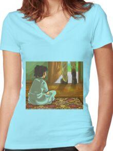 Girl sitting down Women's Fitted V-Neck T-Shirt