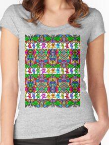 Grateful Dead Bears Trippy Pattern Women's Fitted Scoop T-Shirt