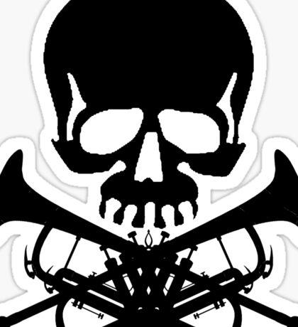 Skull with Trumpet Crossbones Sticker