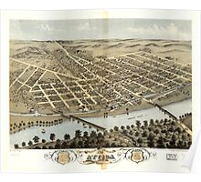 Panoramic Maps Bird's eye view of the city of Attica Fountain County Indiana 1869 Poster