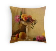 Still Life with fruits and flowers Throw Pillow