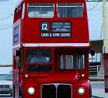 Blackpool promenade Red London Bus by Chris Pilcher