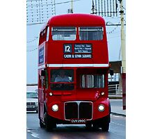 Blackpool promenade Red London Bus Photographic Print