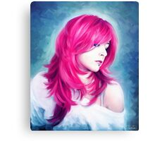 Pink Head sexy lady digital oil portrait painting Canvas Print