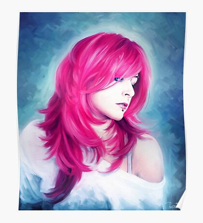 Pink Head sexy lady digital oil portrait painting Poster