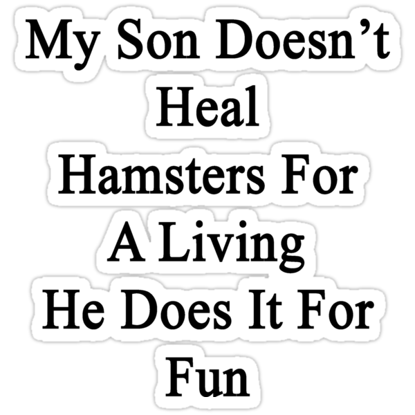 My Son Doesn't Heal Hamsters For A Living He Does It For Fun by supernova23