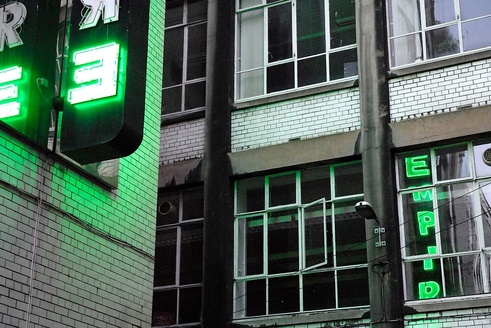 Green Empire in Neon Alley by GreyCard