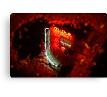 Neon in puddle. Canvas Print