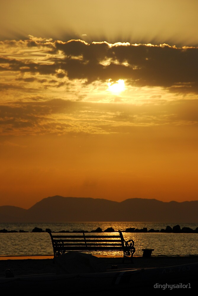 sunset bench by dinghysailor1