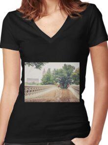Rainy On Bow Bridge Women's Fitted V-Neck T-Shirt