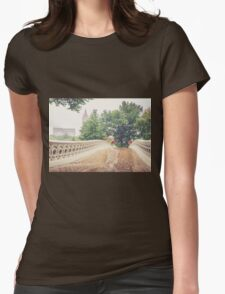 Rainy On Bow Bridge Womens Fitted T-Shirt