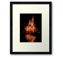 Cinderella's Castle - Yellow w/reflection Framed Print