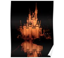 Cinderella's Castle - Yellow w/reflection Poster