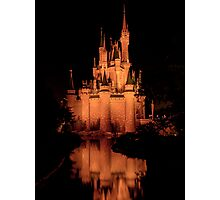 Cinderella's Castle - Yellow w/reflection Photographic Print