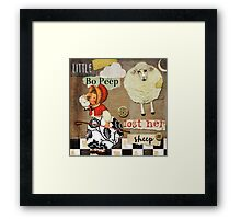 Little Bo Peep Vintage Style Scrapbook Framed Print